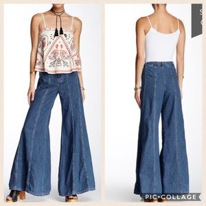 NEW Free People Gilmour wide leg flare jeans 2